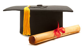 Gortarboard and graduation scroll Stock Images