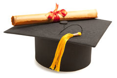 Gortarboard and graduation scroll Stock Photography