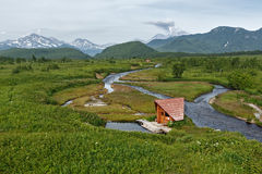Goryacherechensky group hot springs and Goryachaya River. Nalychevo, Kamchatka Royalty Free Stock Photo