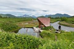 Goryacherechensky group hot springs. Nalychevo nature park on Kamchatka. Russia, Far East Royalty Free Stock Photos