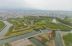Goryokaku fort i Hakodate, Japan Arkivfoto