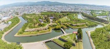 Goryokaku park view from Goryokaku tower. Royalty Free Stock Photography