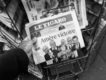 Gorzki zwycięstwo, Le Figaro, wybory dzień dla kanclerza Obrazy Royalty Free