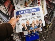 Gorzki zwycięstwo, Le Figaro, wybory dzień dla kanclerza Obraz Stock