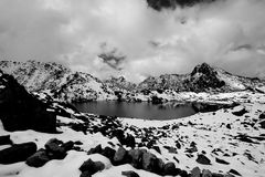 Gosaikunda - a frozen lake high up in Himalayas, in Nepal's Langtang National Park Stock Images