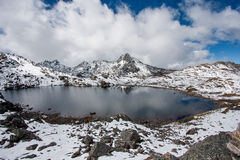 Gosaikunda - a frozen lake high up in Himalayas, in Nepal's Langtang National Park.  royalty free stock image