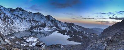 Gosaikunda lakes in Nepal trekking tourism. Sunset in Gosaikunda trek of Nepal Himalaya Royalty Free Stock Photography