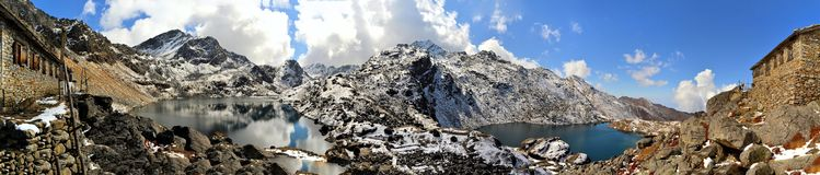 Gosainkunda Mirror Lake, Himalayas, Nepal. Reflection of mountain and snow at sacred Hindu Gosainkunda Mirror lake in the Langtang Himalaya mountain range, Nepal Stock Photography