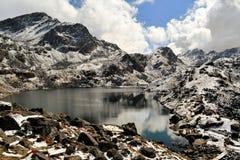 Gosainkunda Mirror Lake, Himalayas, Nepal. Reflection of mountain and snow at sacred Hindu Gosainkunda Mirror lake in the Langtang Himalaya mountain range, Nepal Royalty Free Stock Images