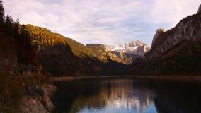 Gosau lake in autumn. Austria. Gosau lake in autumn with Gachstein mountain on background, Austria Royalty Free Stock Images