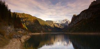 Gosau lake in autumn. Austria. Gosau lake in autumn with Gachstein mountain on background, Austria Stock Photos