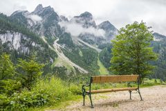 Gosau Mountain Lake in Austria. Beautiful mountains in the background. A Lovely Place to Rest, romantic place. The idyllic scenery at Gosau mountain lake in royalty free stock image