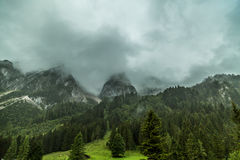 Gosau before the storm. The photo was taken under the Gosau mountain in summer. Within a few minutes, the storm came down Stock Photo