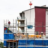 Construction Units Beane St. Gosford, Australia - June 18. 2018: Building progress on a block of new home units under construction at 47 Beane St. New South royalty free stock photo