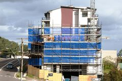 Construction Units Beane St. Gosford, Australia - June 18. 2018: Building progress on a block of new home units under construction at 47 Beane St. New South stock images