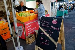 Gosford City Farmers Market Day April, 2017. Gosford, New South Wales, Australia - April 30, 2017: Gosford City Farmers Markets, marked day at Gosford. Produce stock photos
