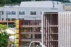Gosford Hospital building progress December 18, 2018. h77ed. Gosford, New South Wales, Australia - December 18, 2018: Construction and building work on Gosford stock image