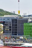 Gosford Hospital building progress December 20, 2018. h78ed. Gosford, New South Wales, Australia - December 20, 2018: Transporting a concrete bucket on the royalty free stock images