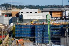 Gosford Hospital building progress H24ed February 2018. Gosford, New South Wales, Australia - September 7, 2018: Construction and building work on Gosford royalty free stock images