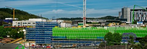 Gosford Hospital building progress H67ed November 2018. Gosford, New South Wales, Australia - November 13, 2018: Construction and building work on Gosford stock image