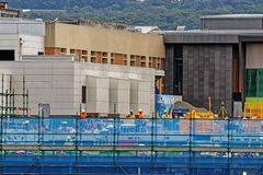 Gosford Hospital building progress H48ed October 2018. Gosford, New South Wales, Australia - October 9, 2018: Construction and building work on Gosford Hospital royalty free stock photos