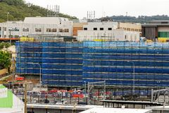 Gosford Hospital building progress H47ed October 2018. Gosford, New South Wales, Australia - October 9, 2018: Construction and building work on Gosford Hospital royalty free stock image
