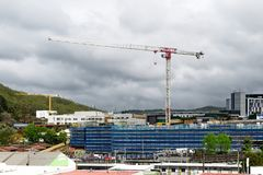 Gosford Hospital building progress H53ed October 2018. Gosford, New South Wales, Australia - October 14, 2018: Construction and building work on Gosford Hospital royalty free stock photography