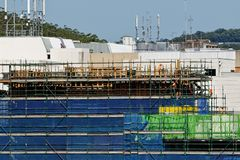 Gosford Hospital building progress H60ed October 2018. Gosford, New South Wales, Australia - October 30, 2018: Construction and building work on Gosford Hospital royalty free stock photography