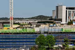 Gosford Hospital building progress H61ed October 2018. Gosford, New South Wales, Australia - October 30, 2018: Construction and building work on Gosford Hospital royalty free stock photos