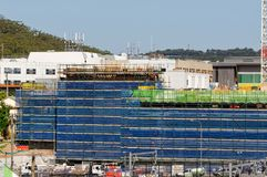 Gosford Hospital building progress H62ed October 2018. Gosford, New South Wales, Australia - October 30, 2018: Construction and building work on Gosford Hospital stock photography