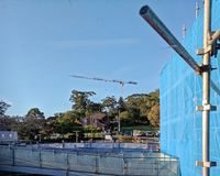 Gosford Hospital building progress H57ed October 2018. Gosford, New South Wales, Australia - October 23, 2018: Construction and building work on Gosford Hospital stock photography
