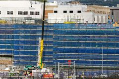 Gosford Hospital building progress H50ed October 2018. Gosford, New South Wales, Australia - October 12, 2018: Waters Mobile Crane operating on Gosford Hospital stock photography