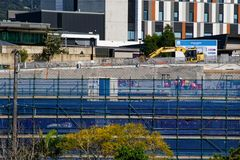 Gosford Hospital building progress H33ed September 2018. Gosford, New South Wales, Australia - September 12, 2018: Construction and building work on Gosford royalty free stock photography