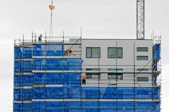 Building progress update 185. At 47 Beane St. Gosford. February 2019. Gosford, New South Wales, Australia - February 21, 2019: Removing scaffolding and safety royalty free stock photography