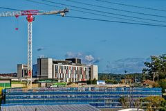 Gosford Hospital building progress H25ed September 2018. Gosford, New South Wales, Australia - September 7, 2018: Construction and building work on Gosford royalty free stock photos