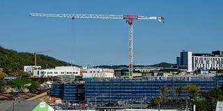 Gosford Hospital building progress H28ed September 2018. Gosford, New South Wales, Australia - September 10, 2018: Construction and building work on Gosford royalty free stock photography