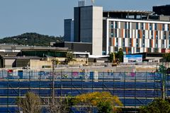 Gosford Hospital building progress H29ed September 2018. Gosford, New South Wales, Australia - September 10, 2018: Construction and building work on Gosford stock image