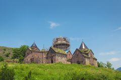 Goshavank,亦不Getik - XII-XIII世纪亚美尼亚中世纪修道院复合体在Ghosh村庄在亚美尼亚 库存图片