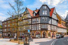 Architecture in Goslar, Germany. GOSLAR, GERMANY - MAY 4, 2015:  Houses in the Old Town of Goslar. Goslar Historic Town is a UNESCO World Heritage site Royalty Free Stock Photography
