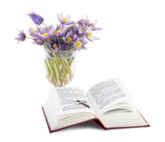 Gospel. Open Prayer book with wooden cross. Bunch of flowers Pulsatilla in the glass vase Royalty Free Stock Photography
