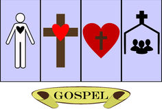 Gospel. The basics of Christianity and the Bible Vector Illustration
