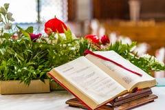 Gospel book stock images