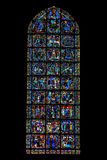 Gospel window of Chartres cathedral, France. Stained-glass window tells the story of Gospels. Chartres, France Stock Image