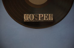 Gospel word on vinyl record with copy space Royalty Free Stock Photography