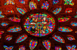 Gospel Writers Stained Glass Window Seville Cathedral Spain. Gospel Writers Mark Matthew Luke John Stained Glass Rose Window, Seville Cathedral, Cathedral of Royalty Free Stock Photography