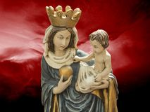 Virgin Mary, mother of Jesus. The gospels of Matthew and Luke in the New Testament and the Quran describe Mary as a virgin and Christians believe that she royalty free stock photos