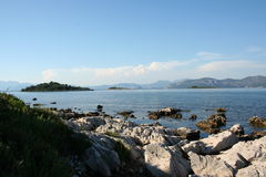 Gospin Otok. Pictured from the coast, three islands in Croatia Royalty Free Stock Photography