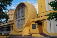 Gosplan车库 康斯坦丁梅尔尼科夫建筑学在莫斯科 免版税库存图片