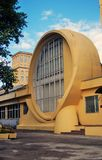 Gosplan garage. Architecture of Konstantin Melnikov in Moscow Royalty Free Stock Photo