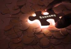Gospodarka Globalny biznes z łamigłówką Obrazy Stock